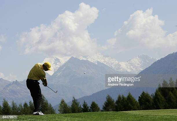 Sergio Garcia of Spain hits his second shot on the 12th hole during the final round of The Omega European Masters on September 4 2005 at the...