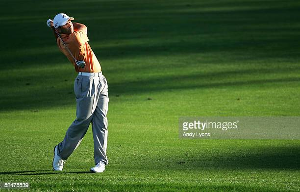 Sergio Garcia of Spain hits his second shot on the 9th hole during the first round of The Players Championship on March 24, 2005 at Sawgrass in Ponte...
