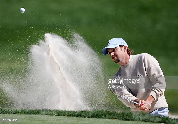 Sergio Garcia of Spain hits his second shot on the par 3 3rd hole during the final round of The Players Championship on March 26, 2006 at TPC...
