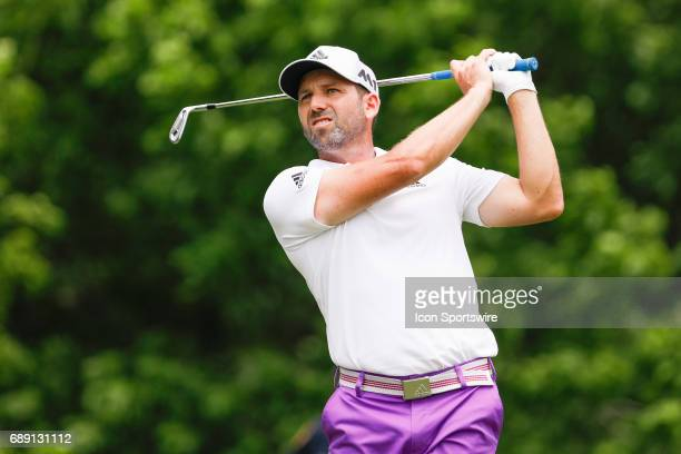 Sergio Garcia of Spain hits his shot on during the third round of the PGA Dean Deluca Invitational on May 27 2017 at Colonial Country Club in Fort...