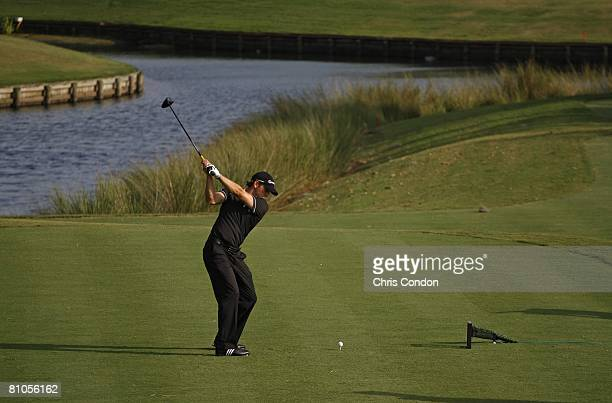 Sergio Garcia of Spain hits his tee shot on during the final round of THE PLAYERS Championship on THE PLAYERS Stadium Course at TPC Sawgrass held on...