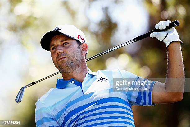 Sergio Garcia of Spain hits his tee shot on the 14th hole during Day 3 of the Open de Espana held at Real Club de Golf el Prat on May 16 2015 in...