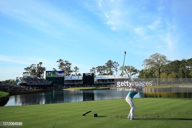 Sergio Garcia of Spain hits his tee shot on the 17th hole during the first round of The PLAYERS Championship on The Stadium Course at TPC Sawgrass on...