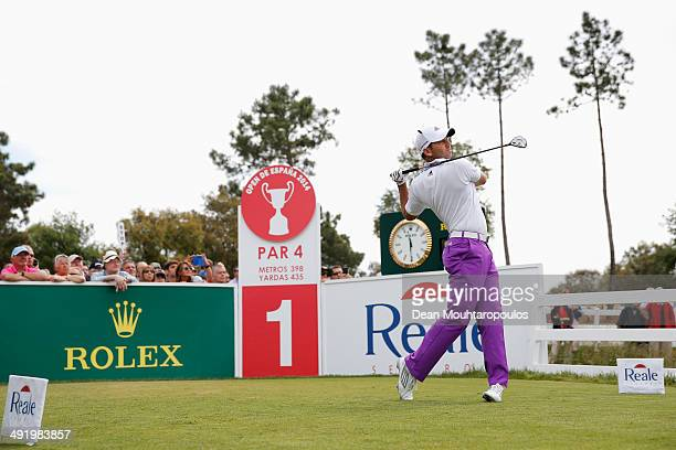 Sergio Garcia of Spain hits his tee shot on the 1st hole during the final round of the Open de Espana held at PGA Catalunya Resort on May 18, 2014 in...