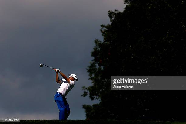 Sergio Garcia of Spain hits his tee shot on the fifth hole during the final round of The Barclays at the Black Course at Bethpage State Park August...