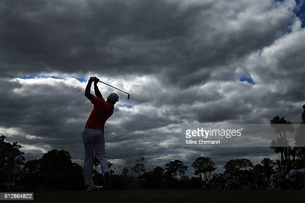 Sergio Garcia of Spain hits his tee shot on the seventh hole during the final round of the Honda Classic at PGA National Resort Spa Champions Course...