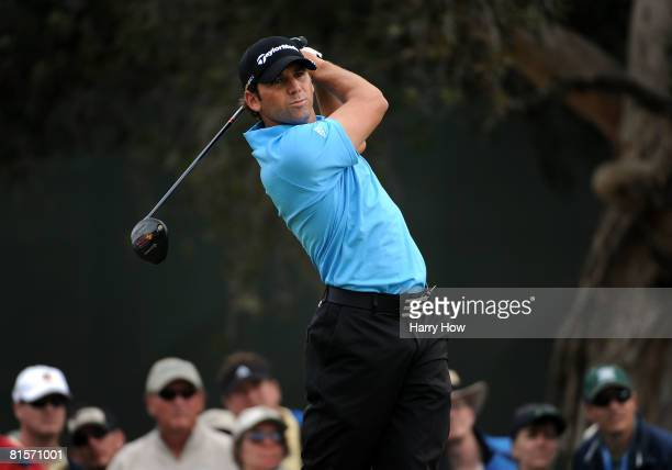 Sergio Garcia of Spain hits his tee shot on the seventh hole during the third round of the 108th US Open at the Torrey Pines Golf Course on June 14...