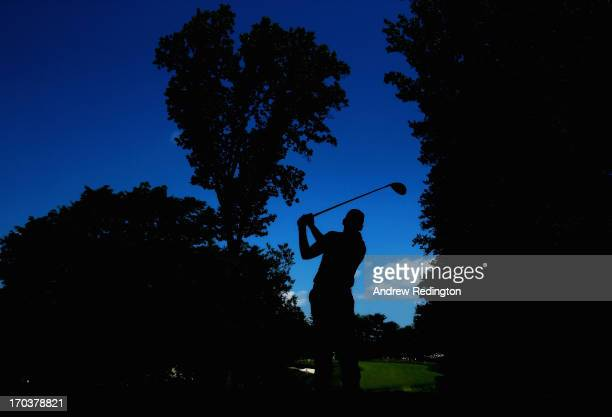 Sergio Garcia of Spain hits his tee shot on the tenth hole during a practice round prior to the start of the 113th U.S. Open at Merion Golf Club on...