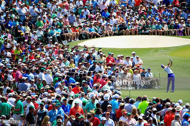 Sergio Garcia of Spain hits his tee shot on the third hole during the third round of the 2015 Masters Tournament at Augusta National Golf Club on...
