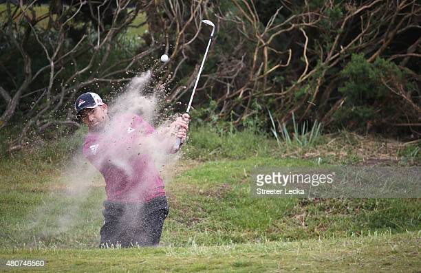 Sergio Garcia of Spain hits out of a bunker during a practice round ahead of the 144th Open Championship at The Old Course on July 15 2015 in St...