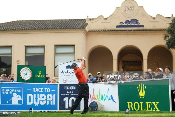 Sergio Garcia of Spain hits their tee shot on the 10th hole during the third round on day five of Andalucia Valderrama Masters at Real Club...