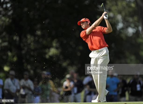 Sergio Garcia of Spain hits to the 11th green during the third round of The Barclays held at the Ridgewood Country Club on August 22 2008 in Paramus...
