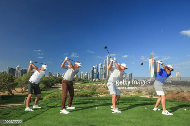 Sergio Garcia of Spain, Ian Poulter of England, Bryson De Chambeau of the United States, and Tommy Fleetwood of England pose at teh top of their...