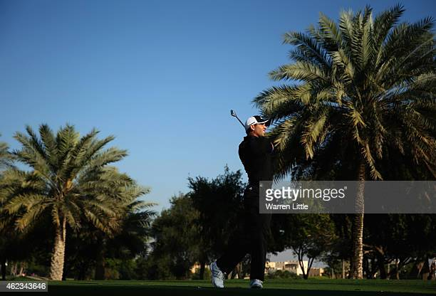 Sergio Garcia of Spain in action during the Challenge Match ahead of the Omega Dubai Desert Classic on the Majlis Course at the Emirates Golf Club on...