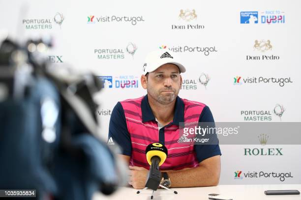 Sergio Garcia of Spain is interviewed ahead of the Portugal Masters at Dom Pedro Victoria Golf Course on September 19 2018 in Albufeira Portugal
