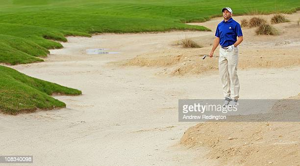 Sergio Garcia of Spain jumps to get a better view on the 18th hole during the Pro Am prior to the start of the Volvo Golf Champions at The Royal Golf...