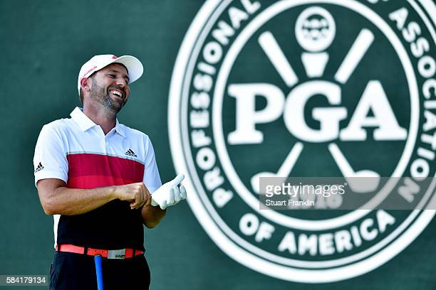 Sergio Garcia of Spain laughts on the first tee during the first round of the 2016 PGA Championship at Baltusrol Golf Club on July 28 2016 in...