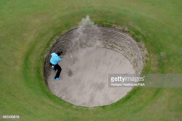 Sergio Garcia of Spain leaves his ball in the bunker on the 15th hole during the final round of The 143rd Open Championship at Royal Liverpool on...