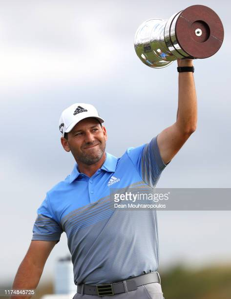 Sergio Garcia of Spain lifts the trophy following his victory during Day Four of the KLM Open at The International Golf Course on September 15, 2019...