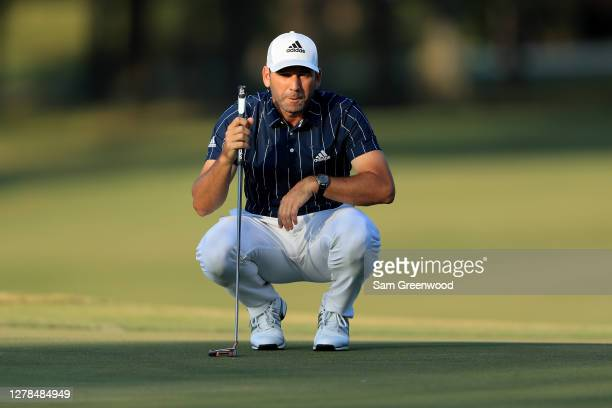 Sergio Garcia of Spain lines up a putt on the 16th green during the final round of the Sanderson Farms Championship at The Country Club of Jackson on...