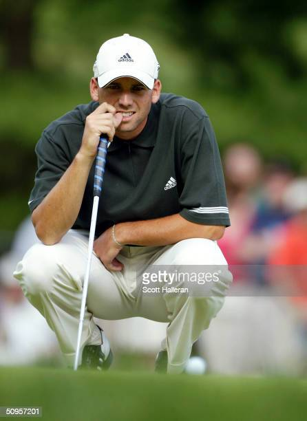 Sergio Garcia of Spain lines up a putt on the 16th green during the final round of the Buick Classic at the Westchester Country Club on June 13 2004...