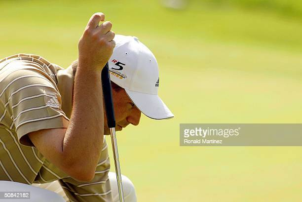 Sergio Garcia of Spain lines up a putt on the 16th hole during the third round of the EDS Byron Nelson Championship on May 15, 2004 at the TPC Las...
