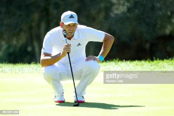 Sergio Garcia of Spain lines up a putt on the 3rd green during the final round of of the Andalucia Valderrama Masters at Real Club Valderrama on...