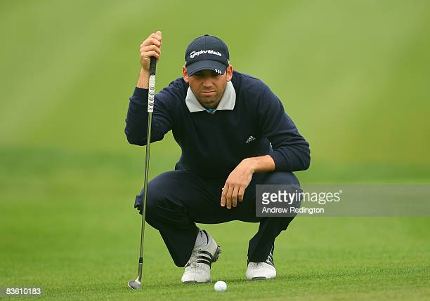Sergio Garcia of Spain lines up a putt on the third hole during the second round of the HSBC Champions at Sheshan Golf Club on November 8, 2008 in...
