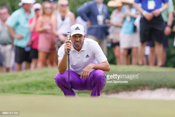 Sergio Garcia of Spain lines up his putt on during the third round of the PGA Dean & Deluca Invitational on May 27, 2017 at Colonial Country Club in...