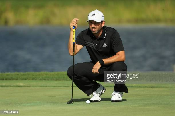 Sergio Garcia of Spain lines up his putt on the 17th green during the first round of the Honda Classic at PGA National Resort and Spa on February 22...