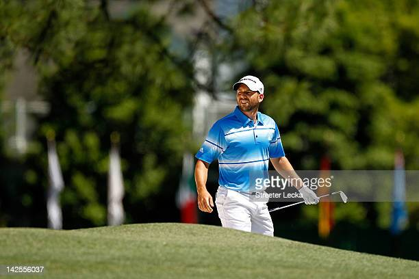 Sergio Garcia of Spain looks at a shot on the first hole during the third round of the 2012 Masters Tournament at Augusta National Golf Club on April...