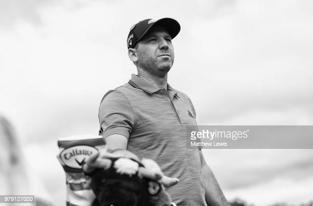 Sergio Garcia of Spain looks on during a practice round ahead of the BMW International Open at Golf Club Gut Larchenhof on June 20, 2018 in Cologne,...
