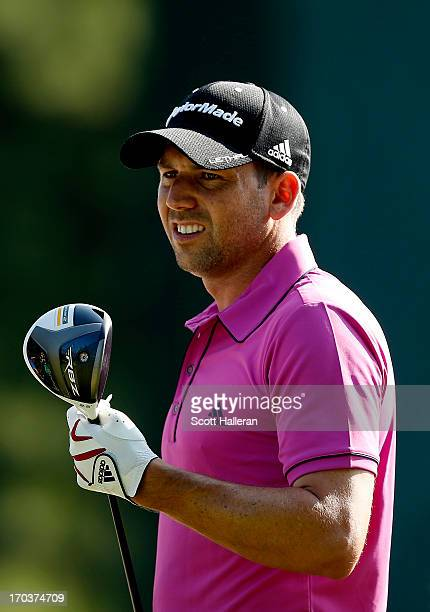 Sergio Garcia of Spain looks on during a practice round prior to the start of the 113th U.S. Open at Merion Golf Club on June 12, 2013 in Ardmore,...
