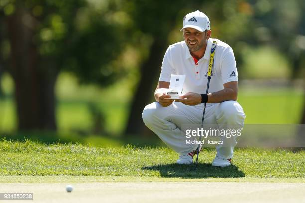 Sergio Garcia of Spain looks over a putt on the second green during the final round of the Valspar Championship at Innisbrook Resort Copperhead...