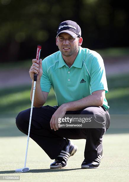 Sergio Garcia of Spain looks over a shot on the 9th hole during the first round of the Transitions Championship at Innisbrook Resort and Golf Club on...