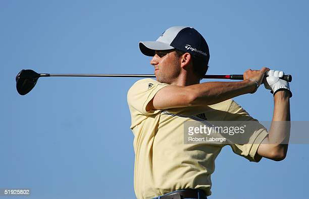 Sergio Garcia of Spain makes a tee shot on the 12th hole during the second round of the Mercedes Championships on January 7, 2005 at the Plantation...