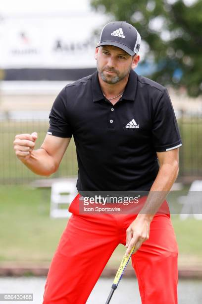 Sergio Garcia of Spain makes his par putt on during the third round of the ATT Byron Nelson on May 20 2017 at the TPC Four Seasons Resort in Irving TX