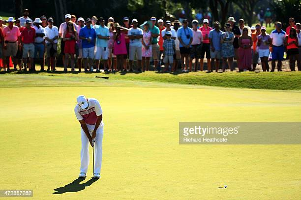 Sergio Garcia of Spain misses a birdie putt on the 13th green during the final round of THE PLAYERS Championship at the TPC Sawgrass Stadium course...