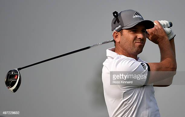 Sergio Garcia of Spain on the 15th tee during the final round of the BMW Masters at Lake Malaren Golf Club on November 15 2015 in Shanghai China
