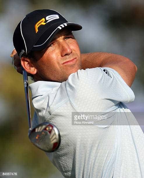 Sergio Garcia of Spain on the 5th tee during the second round of the Dubai Desert Classic played on the Majlis Course on January 30 2009 in...