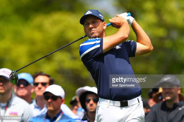 Sergio Garcia of Spain on the 6th Tee during the first round of the 2019 PGA Championship at the Bethpage Black course on May 16 2019 in Farmingdale...