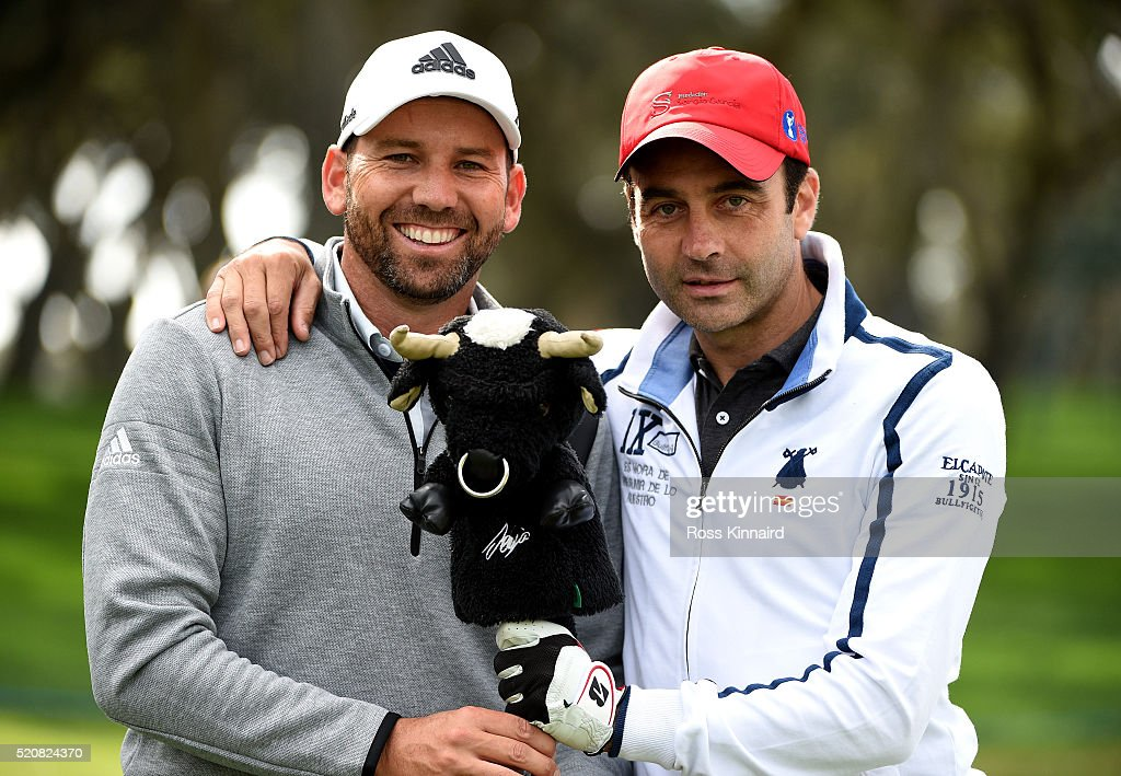 Sergio Garcia of Spain pictured with Enrique Ponce a Spanish bullfighterduring the pro-am event prior to the Open de Espana at Real Club Valderrama on April 13, 2016 in Sotogrande, Spain.