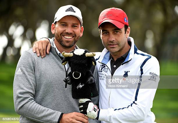 Sergio Garcia of Spain pictured with Enrique Ponce a Spanish bullfighterduring the proam event prior to the Open de Espana at Real Club Valderrama on...
