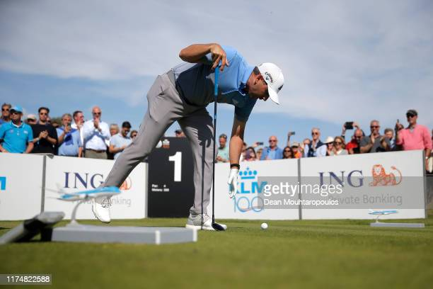 Sergio Garcia of Spain places his ball before teeing off on the first during Day Four of the KLM Open at The International Golf Course on September...