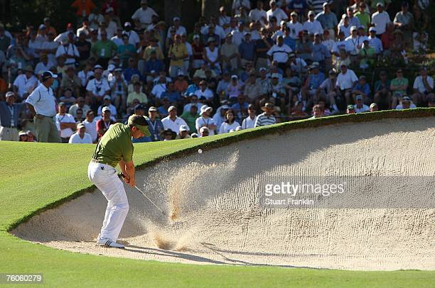 Sergio Garcia of Spain plays a bunker shot during the third round of the 89th PGA Championship at the Southern Hills Country Club on August 11, 2007...