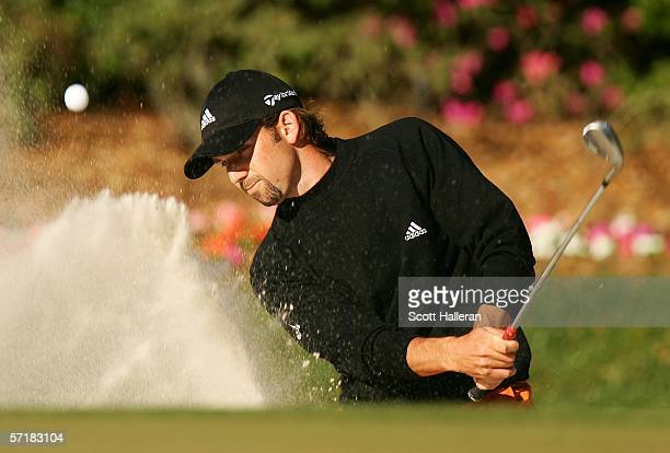 Sergio Garcia of Spain plays a bunker shot on the 14th hole during the third round of The Players Championships on the Stadium Course at TPC Sawgrass...