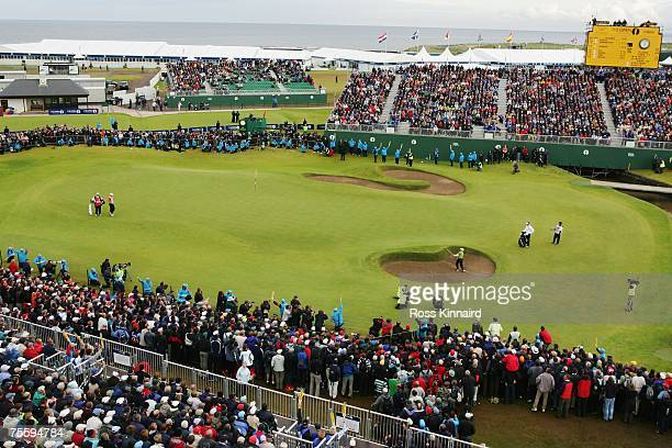 Sergio Garcia of Spain plays a bunker shot on the 18th hole during the final round of The 136th Open Championship at the Carnoustie Golf Club on July...