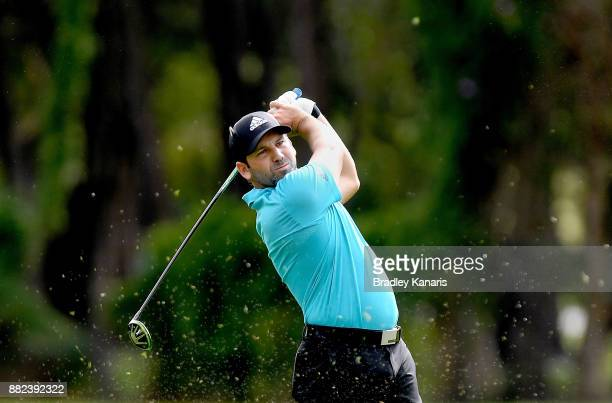 Sergio Garcia of Spain plays a shot during day one of the 2017 Australian PGA Championship at Royal Pines Resort on November 30, 2017 in Gold Coast,...
