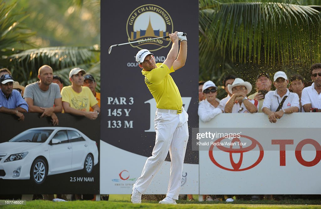 Sergio Garcia of Spain plays a shot during round one of the Thailand Golf Championship at Amata Spring Country Club on December 6, 2012 in Bangkok, Thailand.