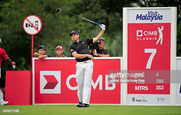 Sergio Garcia of Spain plays a shot during round two of the CIMB Classic at Kuala Lumpur Golf & Country Club on October 30, 2015 in Kuala Lumpur,...